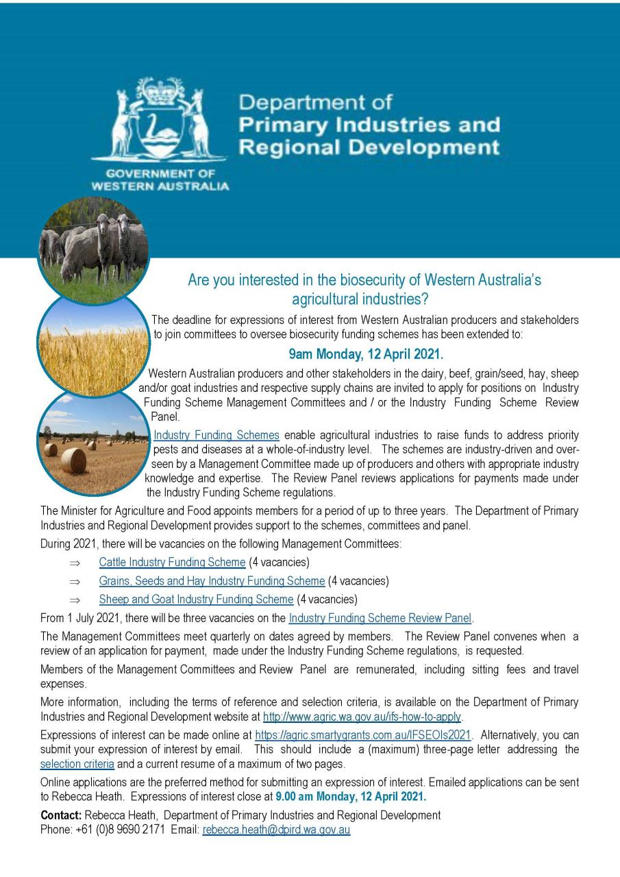 Are you interested in the biosecurity of Western Australia's agricultural