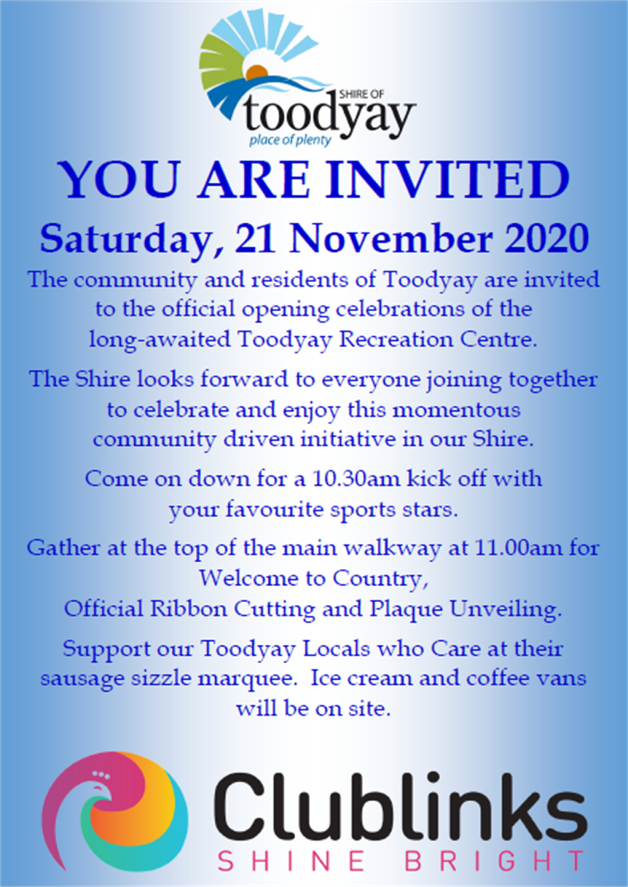 Toodyay Recreation Centre Official Opening